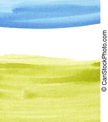 Grass and sky watercolor paintings concept background with ...