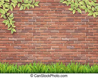 grass and tree branches on red brick wall