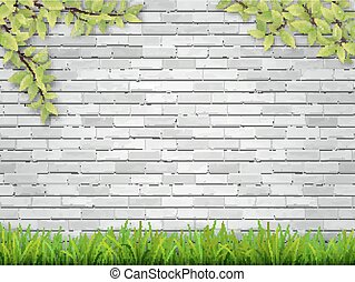 grass and tree branches on white brick wall
