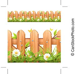 Grass and wooden fence border,