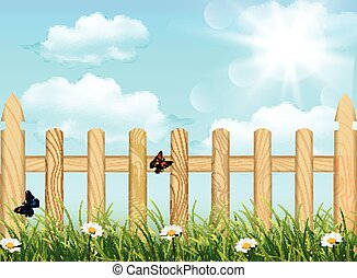 Grass and wooden fence