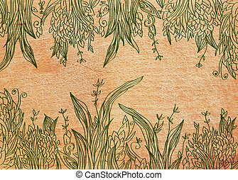 Grass background on the wood texture