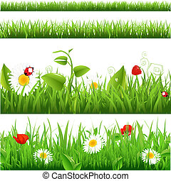 Grass Backgrounds Set With Flowers And Ladybug, Vector Illustration