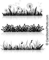 Grass Banner Silhouette Set