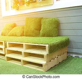 grass bench with burst light