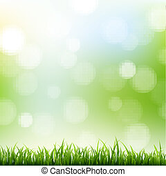 Grass Border With Bokeh Background, Vector Illustration