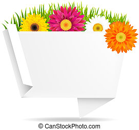 Grass Border With Frower And Origami Banner