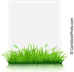 Grass Border With Paper Blank Gift Tag, Isolated On White ...
