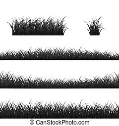 Grass Borders Set. Black Grass Panorama. Vector illustration isolated on white background