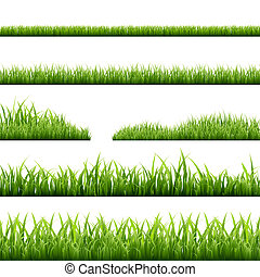 Grass Borders - 6 Grass Borders, Vector Illustration