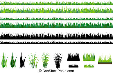 Set Of Grass, Green and Outline, Isolated On White
