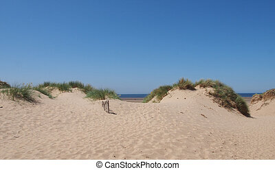 grass covered sand dunes with a small wooden fence against a blue summer sky in formby on the merseyside coast