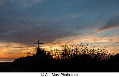 Grass Croos Sunset