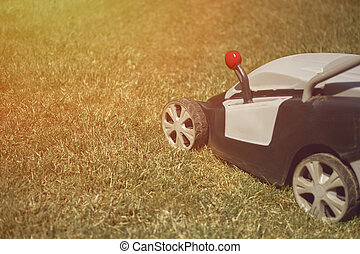 Grass-cutter mowing green lawn on backyard. Gardening care equipment. Sunny morning, close up