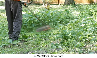 Grass cutting in the park with portable lawnmower - Grass...