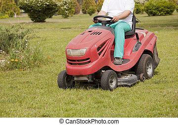 grass cutting - Ride-on lawn mower cutting grass