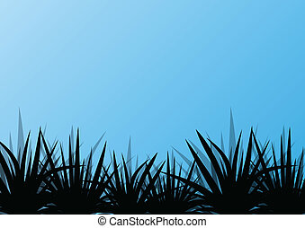 Grass detailed silhouette landscape illustration background...