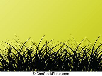 Grass detailed silhouette landscape illustration background...