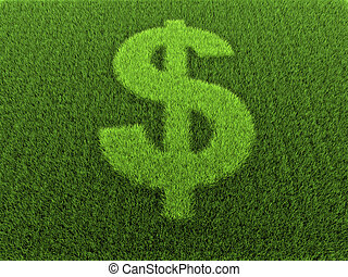 Grass in the shape of the dollar sign, 3D rendering