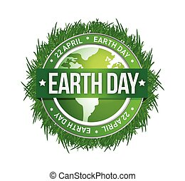 grass earth day written inside the stamp illustration design
