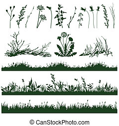 grass - silhouettes of decorative elements of grass and...