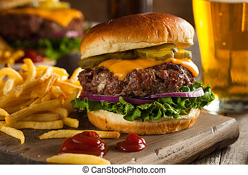 Grass Fed Bison Hamburger with Lettuce and Cheese