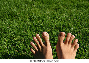 Grass Feet Series - Man\\\'s feet with green grass