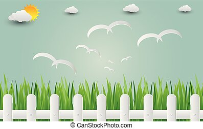 Grass fence with birds flying into the sky. paper art. vector Illustration