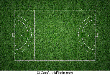 Grass Field Hockey Pitch - Green grass pitch of field hockey...
