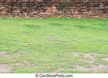 Grass field in front of the old brick wall.
