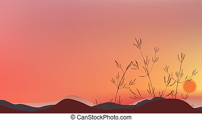Grass field silhouette with twilight sky and sunset landscape