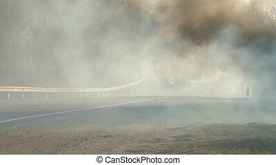 Grass Fire On Roadside