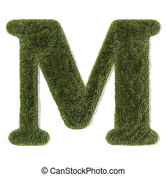 """grass font - letter m - Letter \""""M\"""" of grass, isolated on..."""
