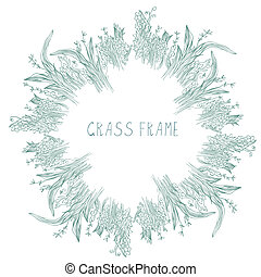Grass frame with herbs and leaves hand drawn design