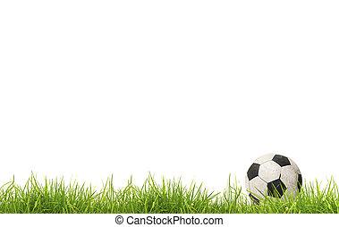 grass., futbol, aislado, pelota