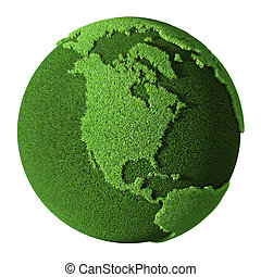 Grass Globe - North America, isolated on white background....