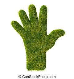 Grass hand icon. Five fingers