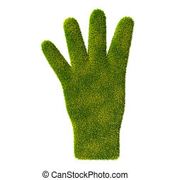 Grass hand icon. Four fingers