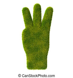 Grass hand icon. Three fingers