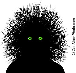 Grass head - Editable vector silhouette of a person with...