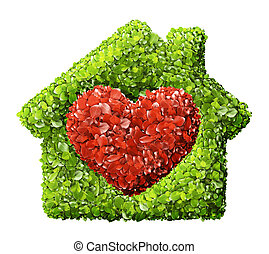 Grass home icon from grass background, isolated