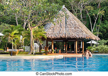 Grass hut pool bar with trees