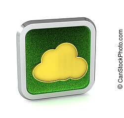 grass icon with cloud on a white background