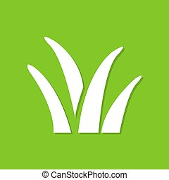 Grass icon with shadow in a flat design on a green background