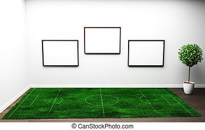 Grass in white living room. 3D rendering