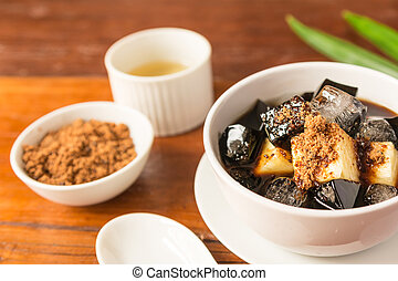 Grass jelly dessert herbal gelatin or jelly black with...