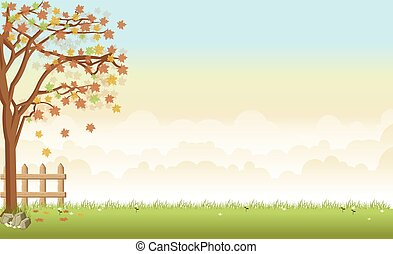 grass landscape with a tree, flowers and clouds
