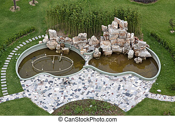 beautiful garden landscape in a hotel, in China