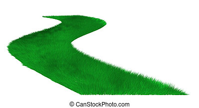 Grass lawn.Curve,perspective view. It is isolated on a white background