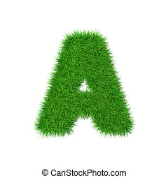 Grass letter A isolated on white, 3d illustration